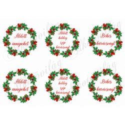 Karácsonyi koszorúk piros masnikkal - FELIRATOKKAL
