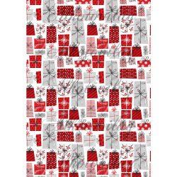 Piros-szürke ajándékcsomagok fehér alapon