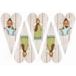 Angyalkák fa struktúrájú hosszúkás szíveken