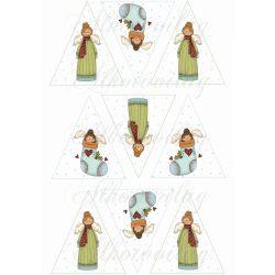 Cuki mosolygós angyalkák háromszögekben karácsonyfadíszhez