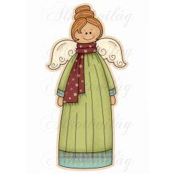 Hosszú zöld ruhás angyalka háttérrel MOSOLYGÓSAN