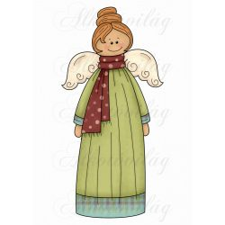 Hosszú zöld ruhás angyalka MOSOLYGÓSAN