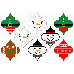 Karácsonyfadíszek különböző figurákkal
