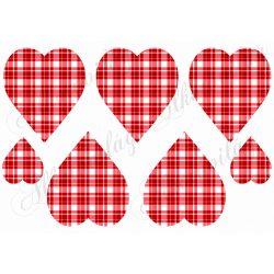 Négyzetrácsos szívek PIROS -fehér színben