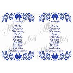 Házi áldás - kék kalocsai 2 db