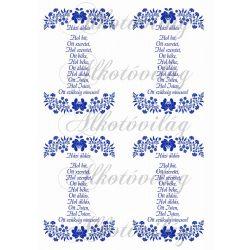 Házi áldás - kék kalocsai 4 db
