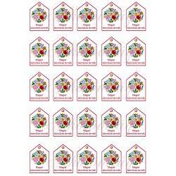 Magyar kézműves termék feliratú termékcímke kalocsai mintával 5 x 3,5 cm