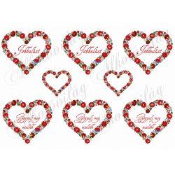 Kalocsai mintás szívek Jobbulást és Gyógyulj meg feliratokkal