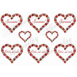 Kalocsai mintás szívek Szeretettel és Otthon édes otthon feliratokkal