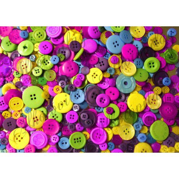 Kerek gombok sárga-lila színekkel