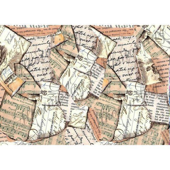 Tépett papírok barnás árnyalatokban