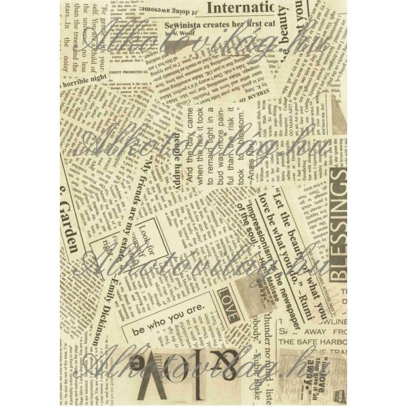 Újságpapír darabok régies színben