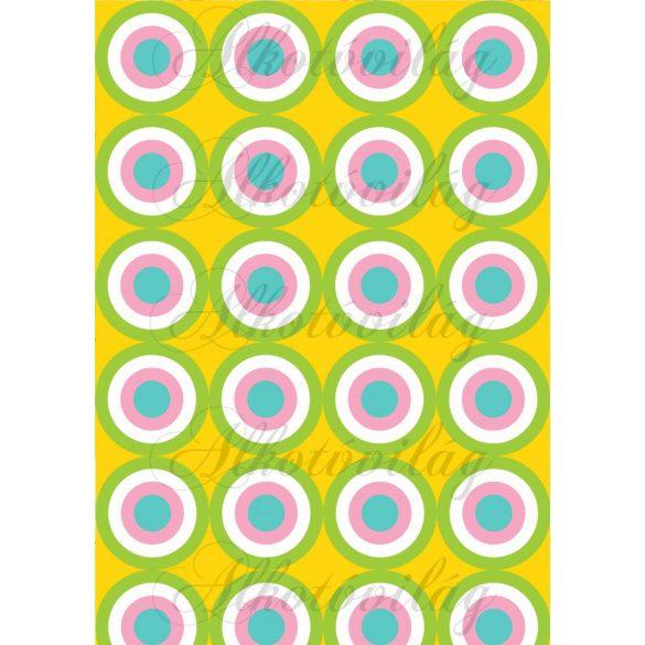 Tavaszi baglyos csomag: színes körök sárga alapon