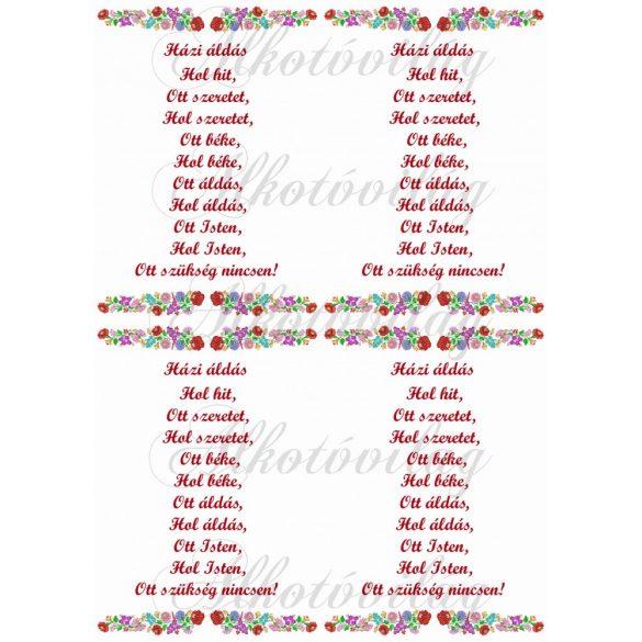 Házi áldás kalocsai mintával - piros kisebb