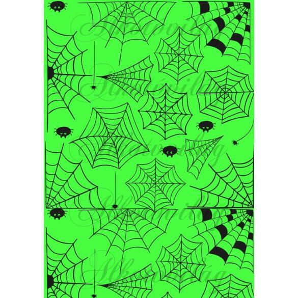 Pókhálós élénkzöld alappal