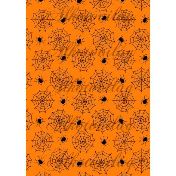 Pókhálós élénk narancs alappal