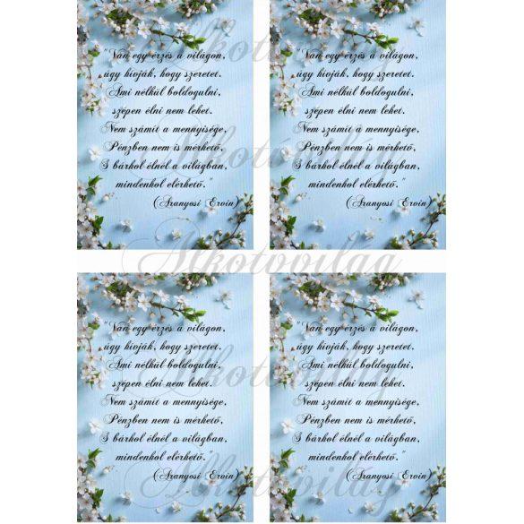 Cseresznyevirágos blokk idézettel 4 db