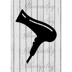 Fodrászkellékek fa alapon- hajszárító A4