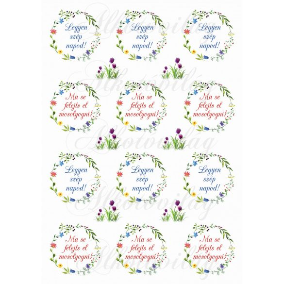 Tavaszi virágos koszorúk kétféle felirattal KICSIBEN