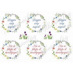 Tavaszi virágos koszorúk kétféle felirattal