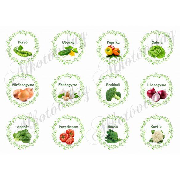 Zöldségek zöld leveles keretben