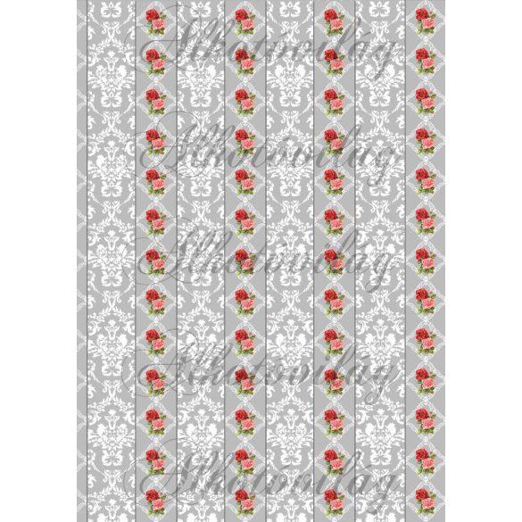 Fehér damask minta szürke alapon rózsával