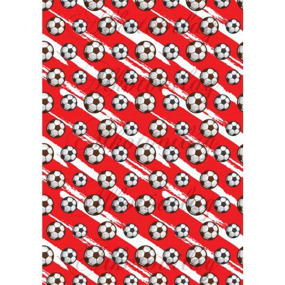 Focilabdák piros-fehér alapon