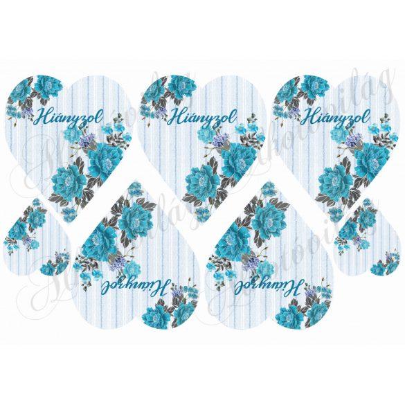 Kék csíkos szívek kék virágokkal hiányzol felirattal