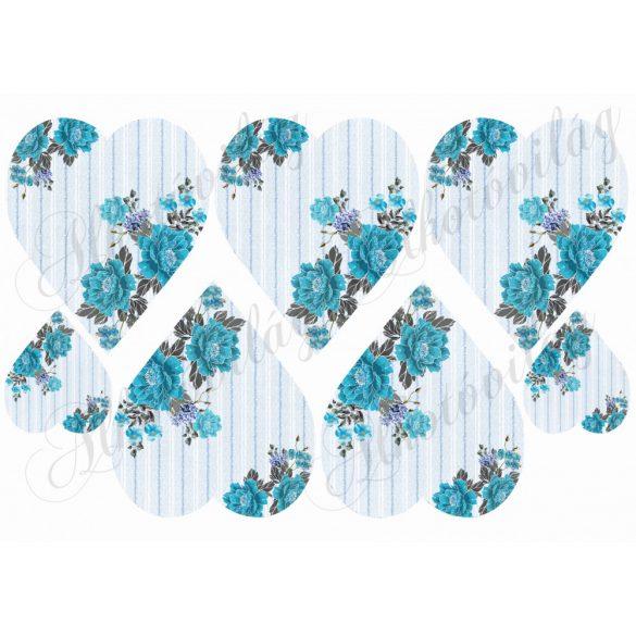 Kék csíkos szívek kék virágokkal