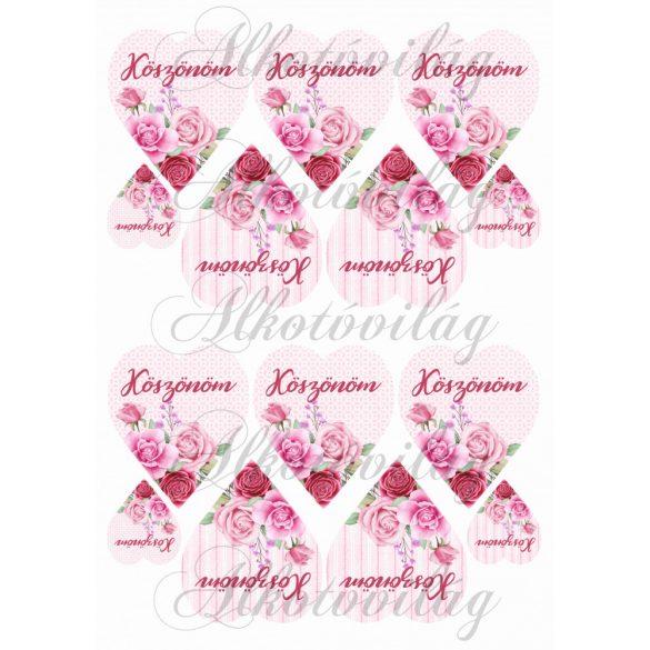 KÖSZÖNÖM- Rózsaszín rózsás szíveken KICSIBEN