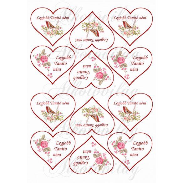 Legjobb Tanító néni szívekben madárkával, rózsával KICSIBEN