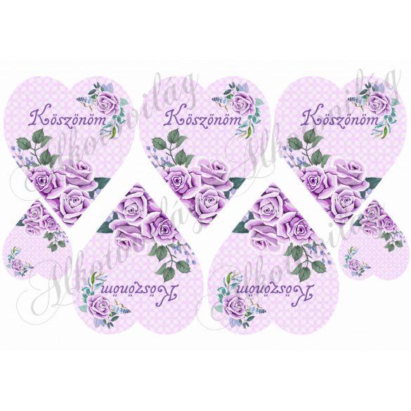 Lila rózsák lila szíveken KÖSZÖNÖM felirattal
