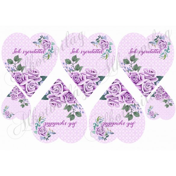 Lila rózsák lila szíveken sok szeretettel felirattal