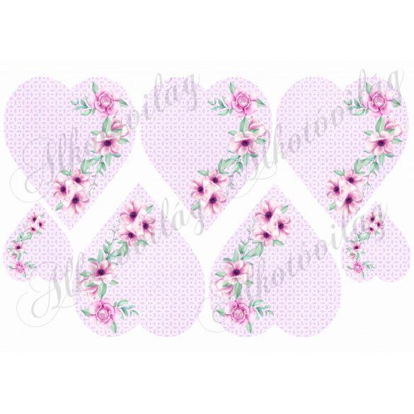 Lilás szívek rózsaszín-lilás virágokkal