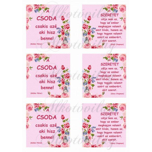 Motivációs idézetek apró pöttyös négyzetekben rózsás sarkokkal