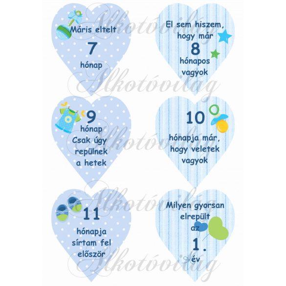 Mérföldkő kártyák születéshez fiús 7-12 hó