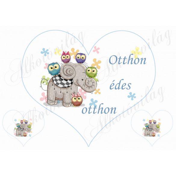 Nagy szív elefánttal OTTHON ÉDES OTTHON felirattal