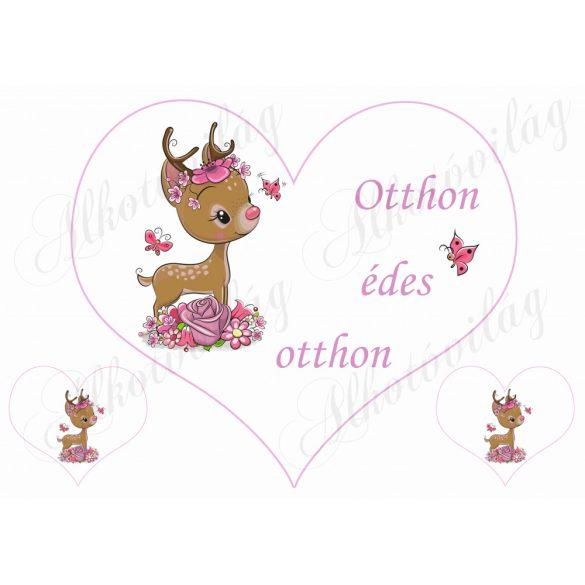 Nagy szív őzikével OTTHON ÉDES OTTHON felirattal