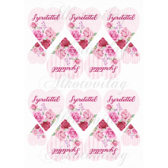 Rózsaszín rózsás szívek kétféle alappal SZERETETTEL felirattal KICSIBEN