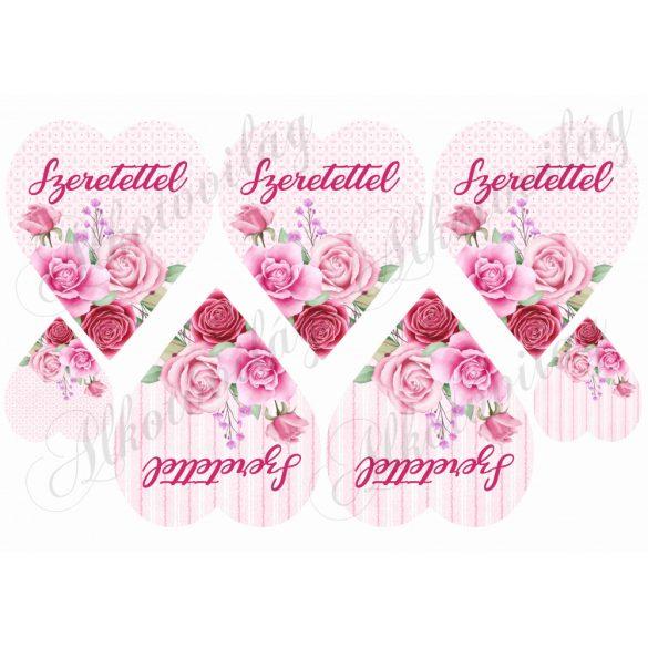 Rózsaszín rózsás szívek kétféle alappal SZERETETTEL felirattal
