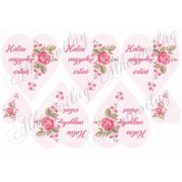 Rózsaszín szívek futó rózsával- hálás vagyok érted felirattal