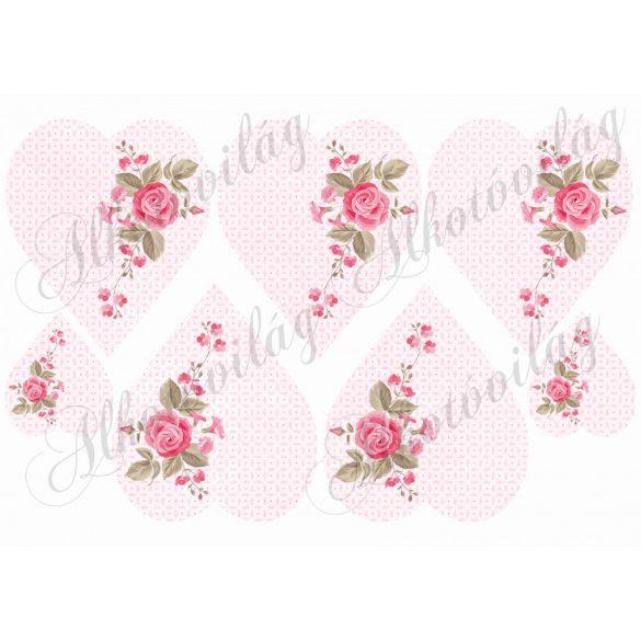 Rózsaszín szívek futó rózsával
