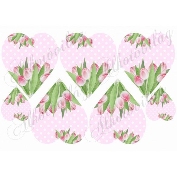 Tulipános szívek rózsaszín pöttyös alapon
