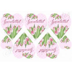 Tulipános szívek rózsaszín pöttyös alapon- SZERETETTEL felirattal