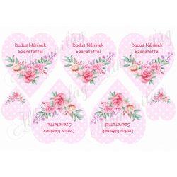 Rózsaszín pöttyös szív rózsával - Dadus néninek szeretettel felirattal