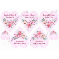 Rózsaszín pöttyös szív rózsával - Gondozó néninek szeretettel felirattal