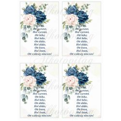 Házi áldás kék-bézs rózsákkal 4db