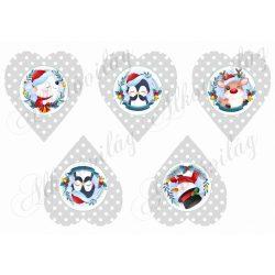 Halvány szürke pöttyös szívek cuki téli  figurákkal
