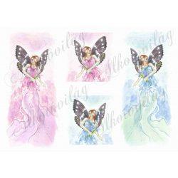 Pillangó tündérek rózsaszín és kék ruhában