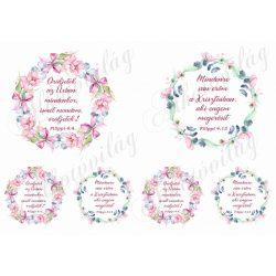 Örüljetek az Úrban... Mindenre van erőm... bibliai idézet virágkoszorúkban NAGY ÉS KICSI mintákkal